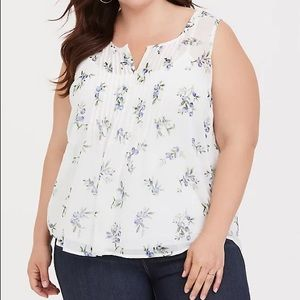 Torrid white sheer tank with blueberry print